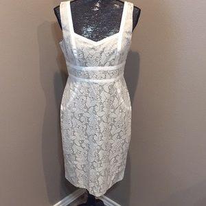 S.L. Fashions Cream Lace Dress size 8
